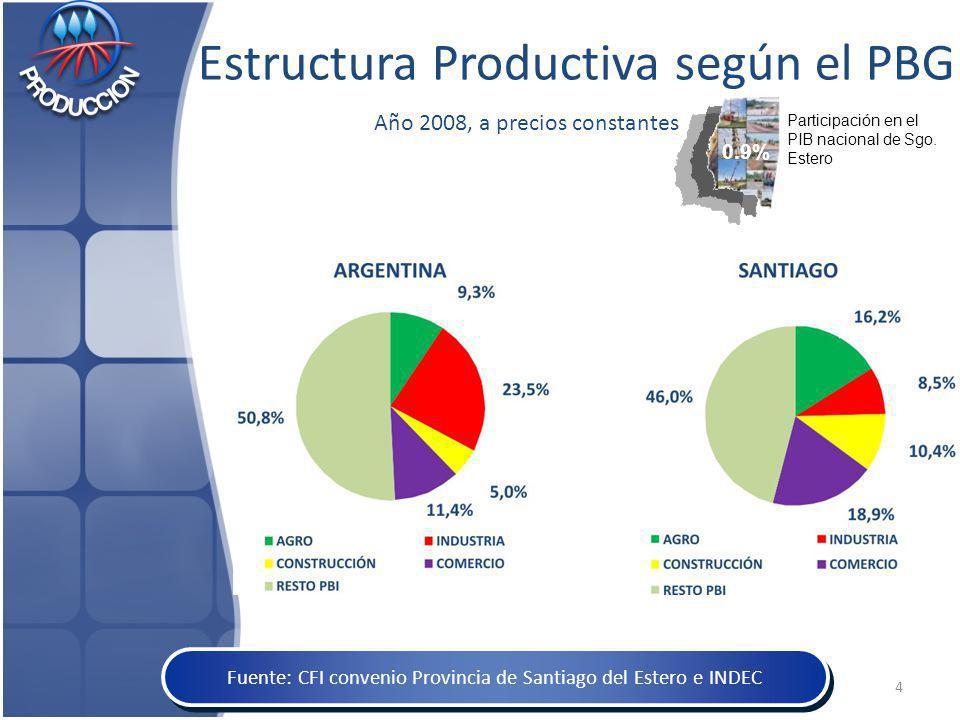 Estructura Productiva según el PBG Año 2008, a precios constantes Fuente: CFI convenio Provincia de Santiago del Estero e INDEC Participación en el PIB nacional de Sgo.