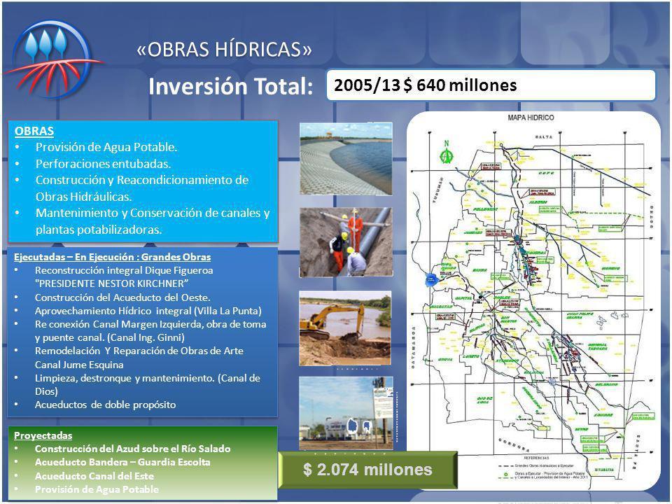 «OBRAS HÍDRICAS» 2005/13 $ 640 millones Inversión Total: Ejecutadas – En Ejecución : Grandes Obras Reconstrucción integral Dique Figueroa