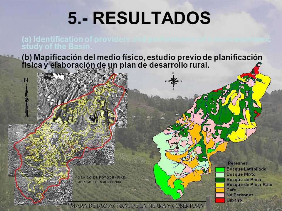5.- RESULTADOS (a) Identification of providers and performance of a socioeconomic study of the Basin. (b) Mapificación del medio físico, estudio previ
