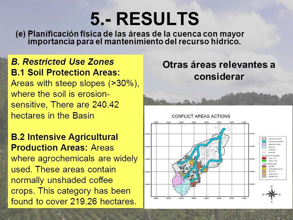 5.- RESULTS (e) Planificación física de las áreas de la cuenca con mayor importancia para el mantenimiento del recurso hídrico.