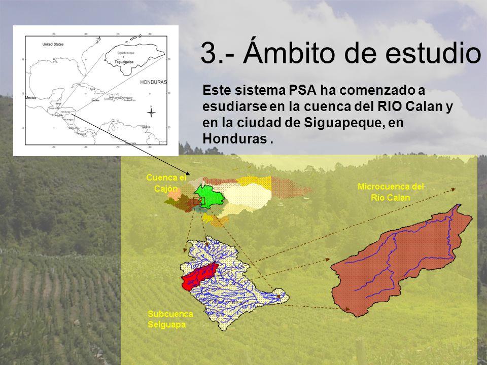 3.- Ámbito de estudio Este sistema PSA ha comenzado a esudiarse en la cuenca del RIO Calan y en la ciudad de Siguapeque, en Honduras.