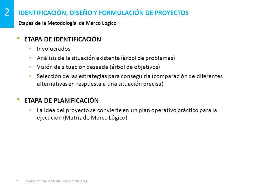 ETAPA DE IDENTIFICACIÓN Involucrados Análisis de la situación existente (árbol de problemas) Visión de situación deseada (árbol de objetivos) Selección de las estrategias para conseguirla (comparación de diferentes alternativas en respuesta a una situación precisa) ETAPA DE PLANIFICACIÓN La idea del proyecto se convierte en un plan operativo práctico para la ejecución (Matriz de Marco Lógico) Etapas de la Metodología de Marco Lógico IDENTIFICACIÓN, DISEÑO Y FORMULACIÓN DE PROYECTOS 2 Dirección Nacional de Inversión Pública