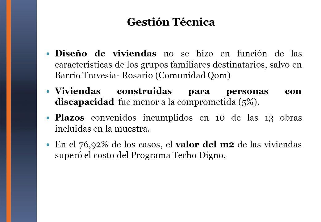 Diseño de viviendas no se hizo en función de las características de los grupos familiares destinatarios, salvo en Barrio Travesía- Rosario (Comunidad