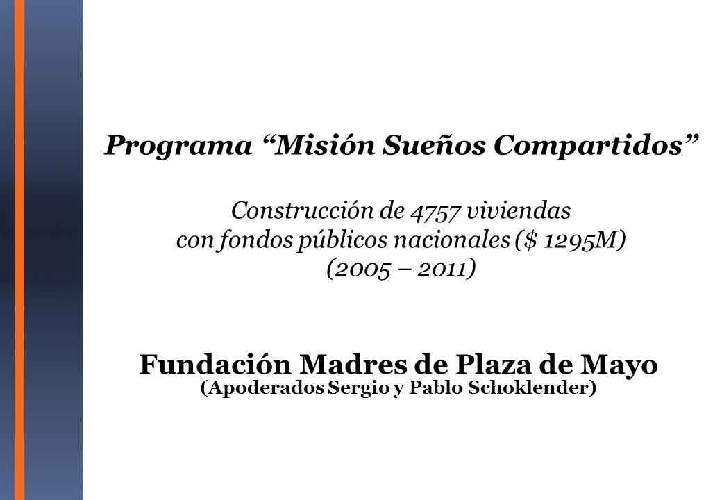Programa Misión Sueños Compartidos Construcción de 4757 viviendas con fondos públicos nacionales ($ 1295M) (2005 – 2011) Fundación Madres de Plaza de