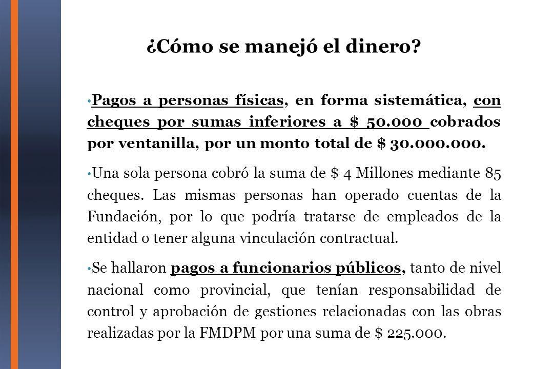 Pagos a personas físicas, en forma sistemática, con cheques por sumas inferiores a $ 50.000 cobrados por ventanilla, por un monto total de $ 30.000.00