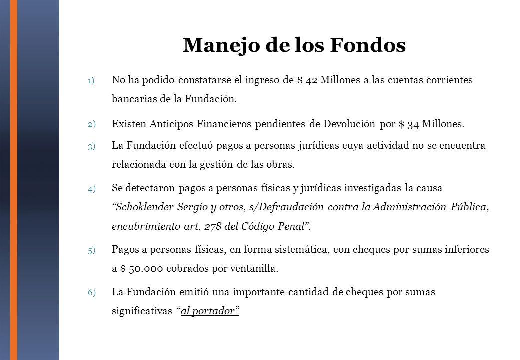 1) No ha podido constatarse el ingreso de $ 42 Millones a las cuentas corrientes bancarias de la Fundación. 2) Existen Anticipos Financieros pendiente