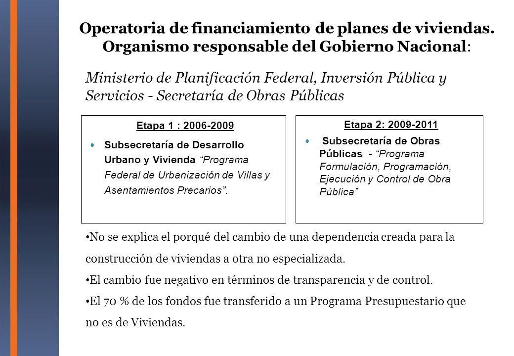 Ministerio de Planificación Federal, Inversión Pública y Servicios - Secretaría de Obras Públicas Etapa 1 : 2006-2009 Subsecretaría de Desarrollo Urba