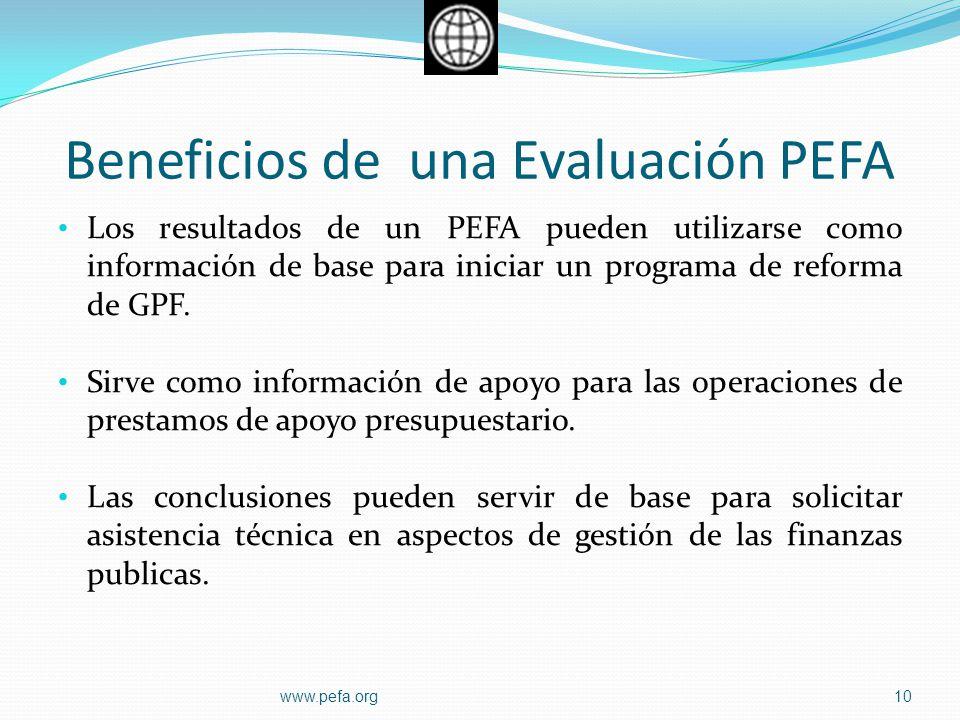 Beneficios de una Evaluación PEFA Los resultados de un PEFA pueden utilizarse como información de base para iniciar un programa de reforma de GPF. Sir
