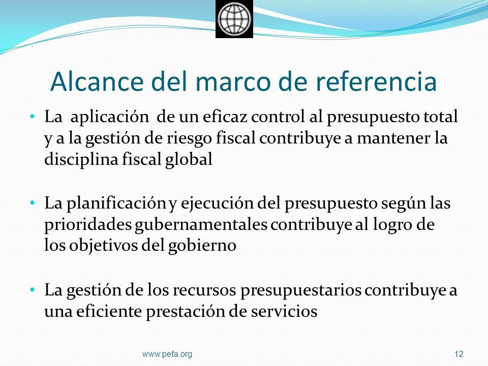 Alcance del marco de referencia La aplicación de un eficaz control al presupuesto total y a la gestión de riesgo fiscal contribuye a mantener la disci