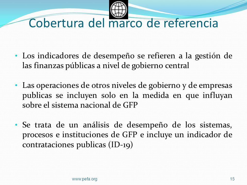 Cobertura del marco de referencia Los indicadores de desempeño se refieren a la gestión de las finanzas públicas a nivel de gobierno central Las opera