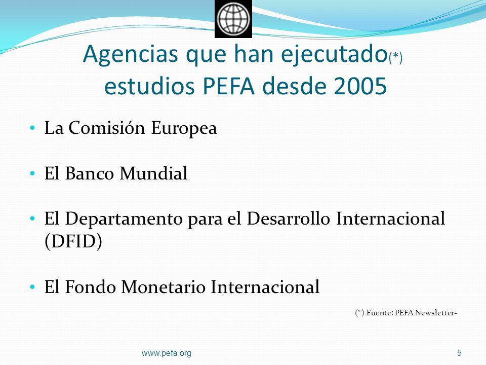 Agencias que han ejecutado (*) estudios PEFA desde 2005 La Comisión Europea El Banco Mundial El Departamento para el Desarrollo Internacional (DFID) E