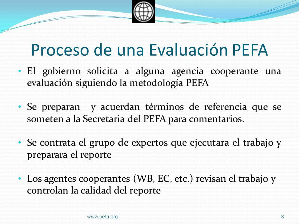 Proceso de una Evaluación PEFA El gobierno solicita a alguna agencia cooperante una evaluación siguiendo la metodología PEFA Se preparan y acuerdan té