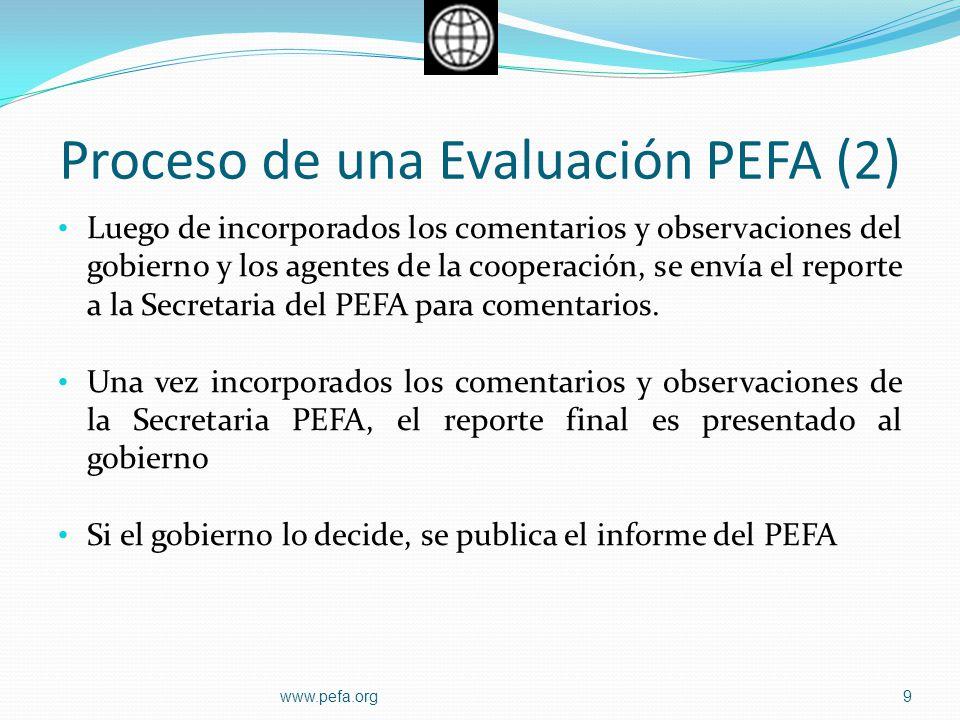 Proceso de una Evaluación PEFA (2) Luego de incorporados los comentarios y observaciones del gobierno y los agentes de la cooperación, se envía el rep
