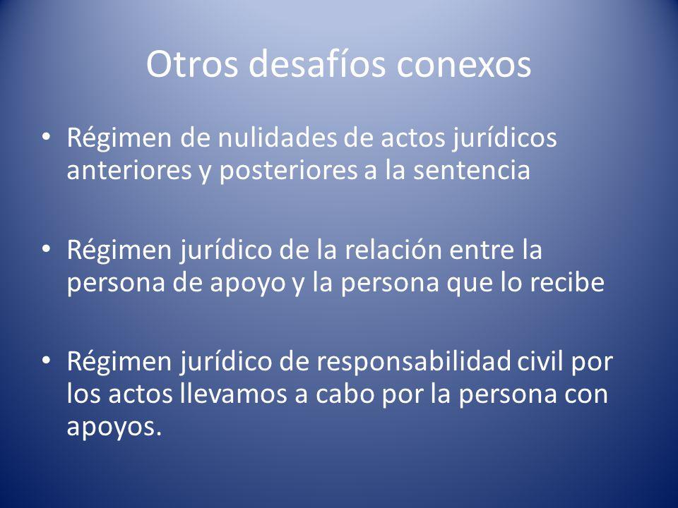 Otros desafíos conexos Régimen de nulidades de actos jurídicos anteriores y posteriores a la sentencia Régimen jurídico de la relación entre la person