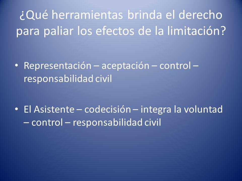 ¿Qué herramientas brinda el derecho para paliar los efectos de la limitación? Representación – aceptación – control – responsabilidad civil El Asisten