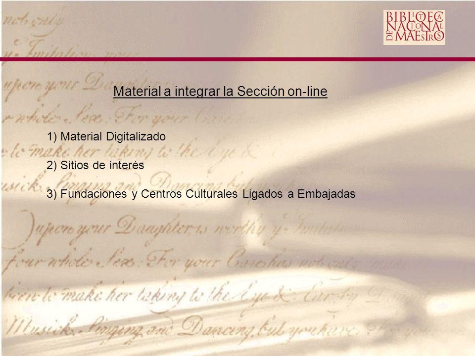 Material a integrar la Sección on-line 1) Material Digitalizado 2) Sitios de interés 3) Fundaciones y Centros Culturales Ligados a Embajadas