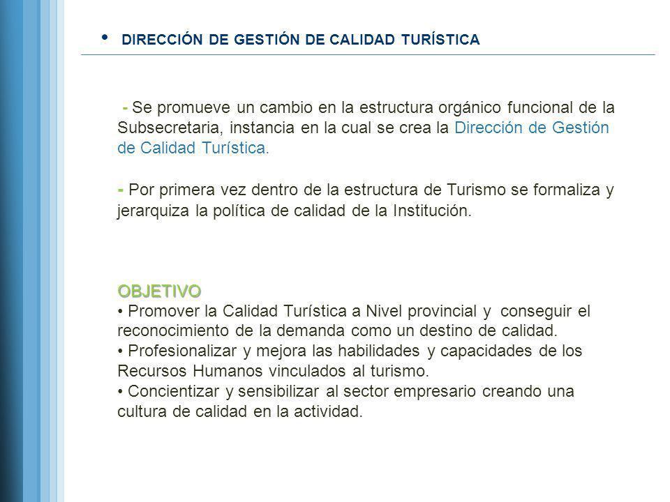 DIRECCIÓN DE GESTIÓN DE CALIDAD TURÍSTICA - Se promueve un cambio en la estructura orgánico funcional de la Subsecretaria, instancia en la cual se cre