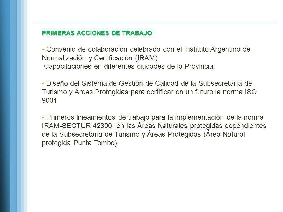 PRIMERAS ACCIONES DE TRABAJO - Convenio de colaboración celebrado con el Instituto Argentino de Normalización y Certificación (IRAM) Capacitaciones en