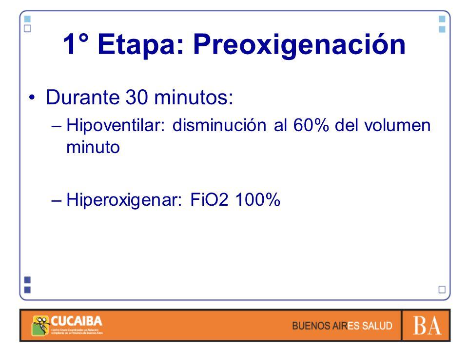 1° Etapa: Preoxigenación Durante 30 minutos: –Hipoventilar: disminución al 60% del volumen minuto –Hiperoxigenar: FiO2 100%
