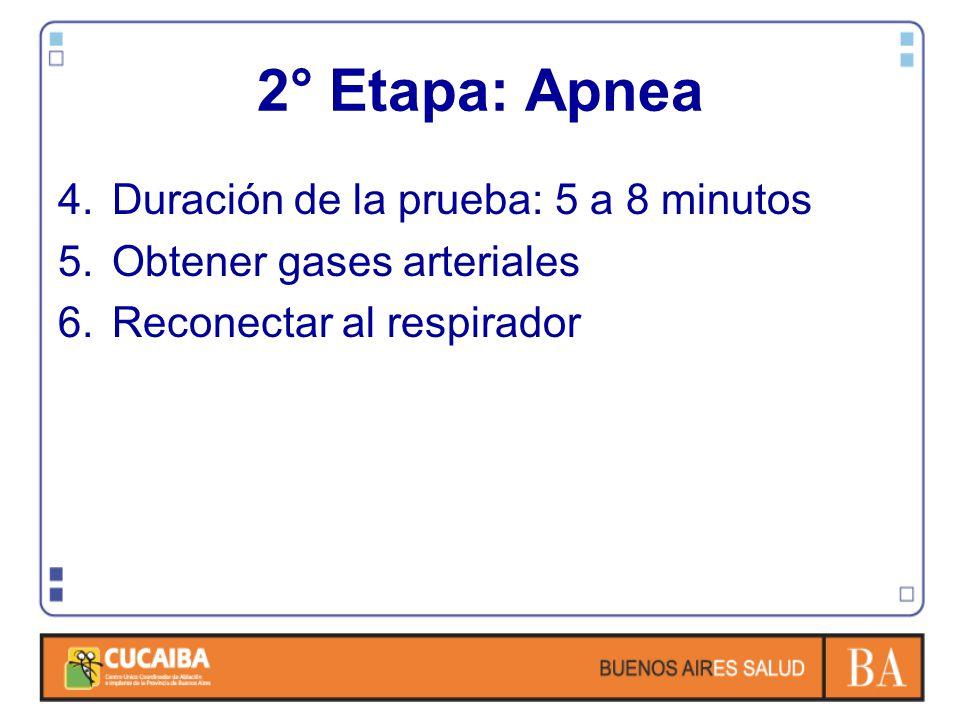 4.Duración de la prueba: 5 a 8 minutos 5.Obtener gases arteriales 6.Reconectar al respirador 2° Etapa: Apnea