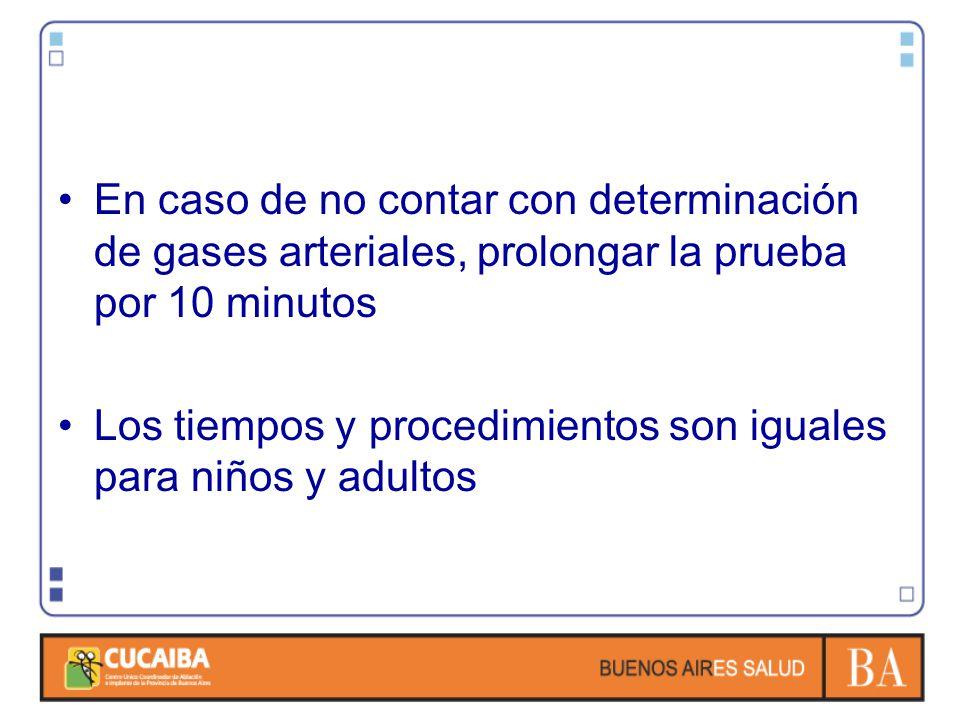 En caso de no contar con determinación de gases arteriales, prolongar la prueba por 10 minutos Los tiempos y procedimientos son iguales para niños y adultos