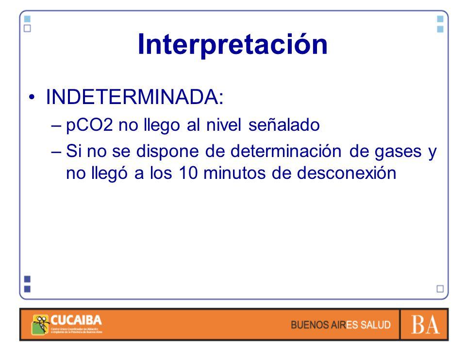 Interpretación INDETERMINADA: –pCO2 no llego al nivel señalado –Si no se dispone de determinación de gases y no llegó a los 10 minutos de desconexión