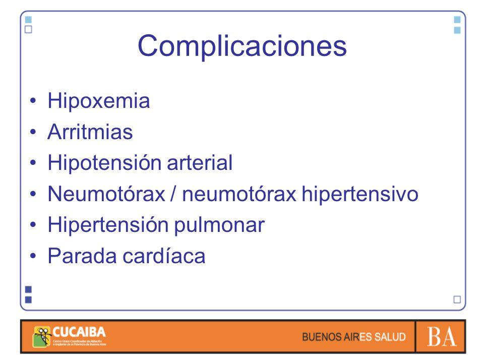 Complicaciones Hipoxemia Arritmias Hipotensión arterial Neumotórax / neumotórax hipertensivo Hipertensión pulmonar Parada cardíaca