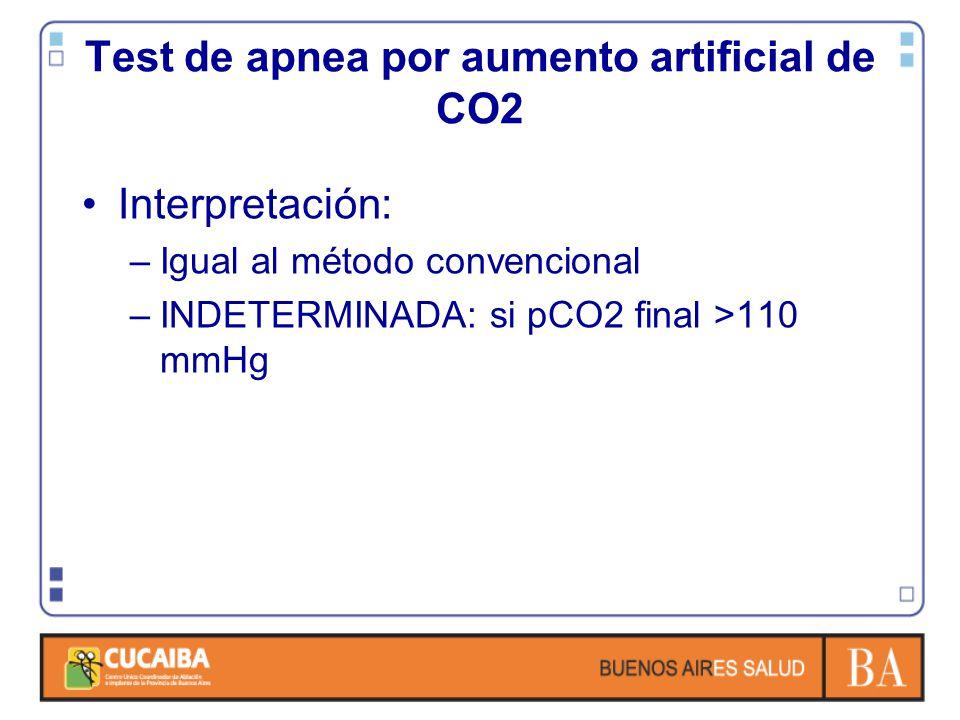 Interpretación: –Igual al método convencional –INDETERMINADA: si pCO2 final >110 mmHg Test de apnea por aumento artificial de CO2