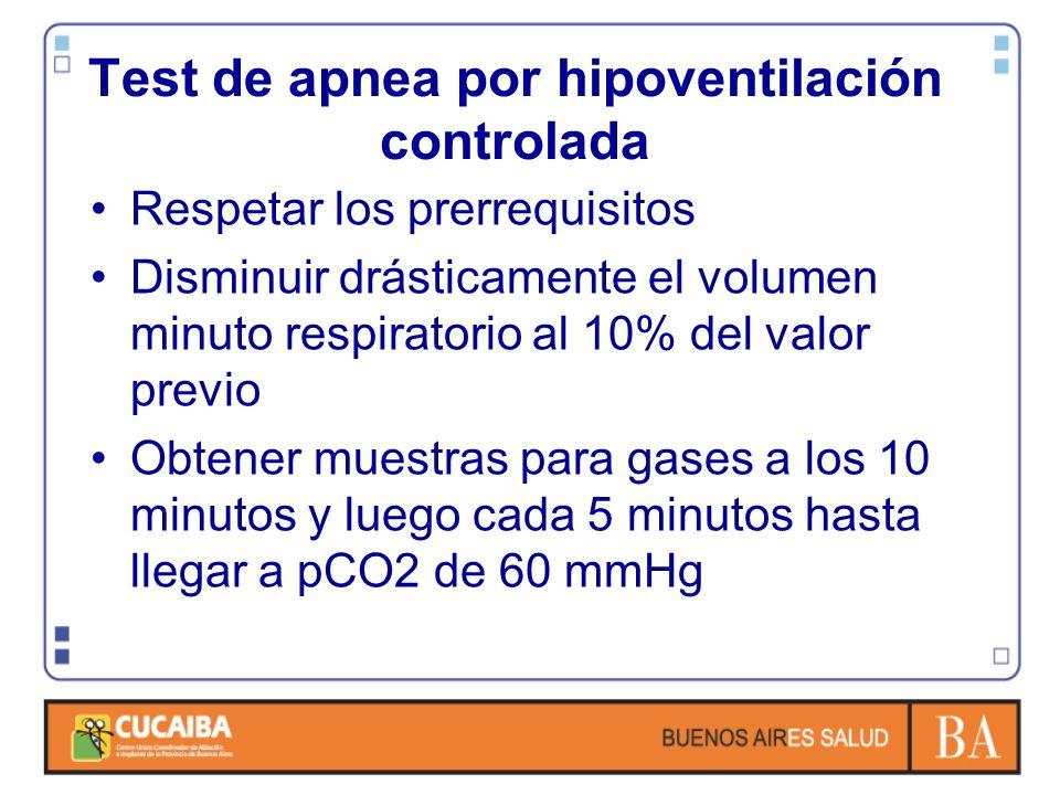 Test de apnea por hipoventilación controlada Respetar los prerrequisitos Disminuir drásticamente el volumen minuto respiratorio al 10% del valor previo Obtener muestras para gases a los 10 minutos y luego cada 5 minutos hasta llegar a pCO2 de 60 mmHg