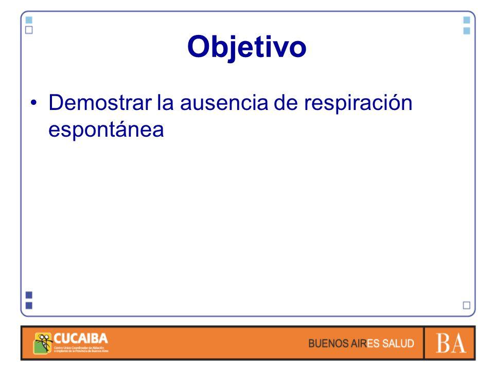 Objetivo Demostrar la ausencia de respiración espontánea