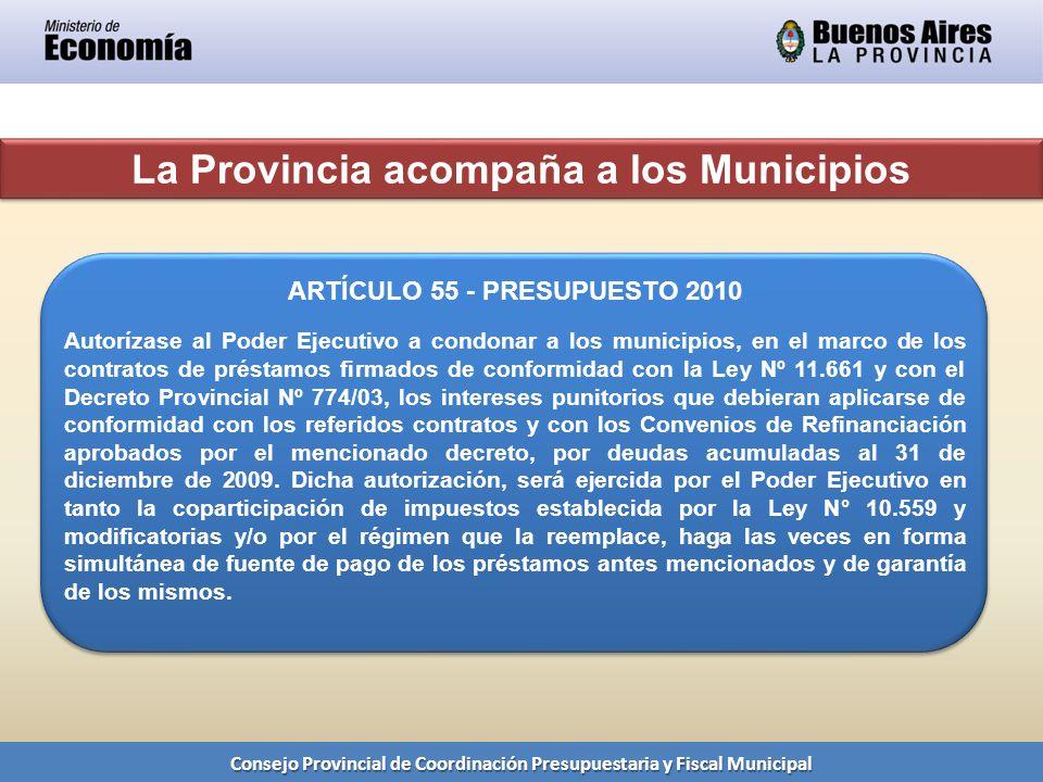 La Provincia acompaña a los Municipios Consejo Provincial de Coordinación Presupuestaria y Fiscal Municipal ARTÍCULO 55 - PRESUPUESTO 2010 Autorízase al Poder Ejecutivo a condonar a los municipios, en el marco de los contratos de préstamos firmados de conformidad con la Ley Nº 11.661 y con el Decreto Provincial Nº 774/03, los intereses punitorios que debieran aplicarse de conformidad con los referidos contratos y con los Convenios de Refinanciación aprobados por el mencionado decreto, por deudas acumuladas al 31 de diciembre de 2009.