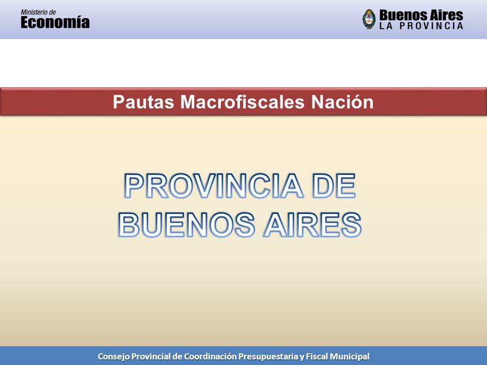 Consejo Provincial de Coordinación Presupuestaria y Fiscal Municipal Pautas Macrofiscales Nación