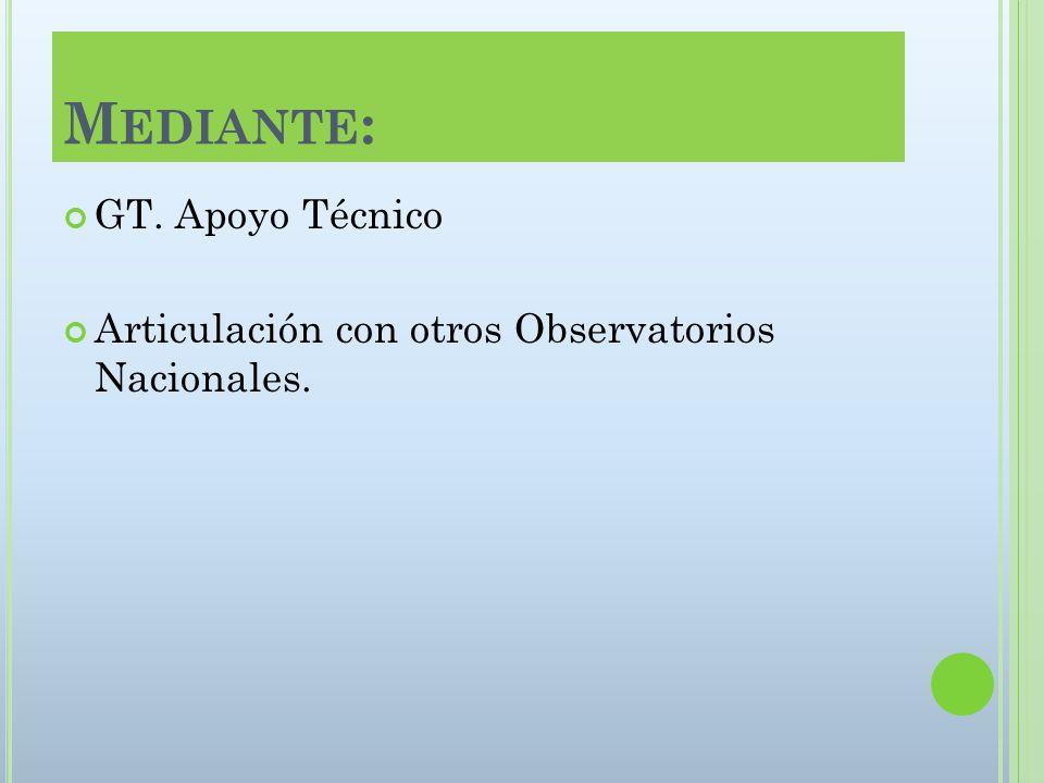 M EDIANTE : GT. Apoyo Técnico Articulación con otros Observatorios Nacionales.