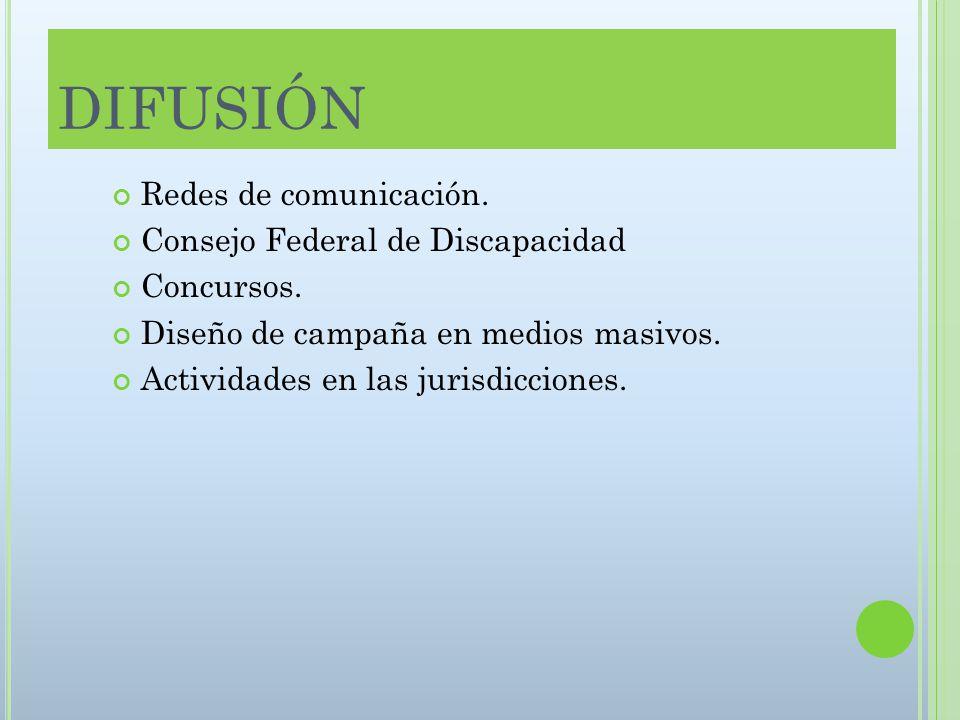 DIFUSIÓN Redes de comunicación. Consejo Federal de Discapacidad Concursos.