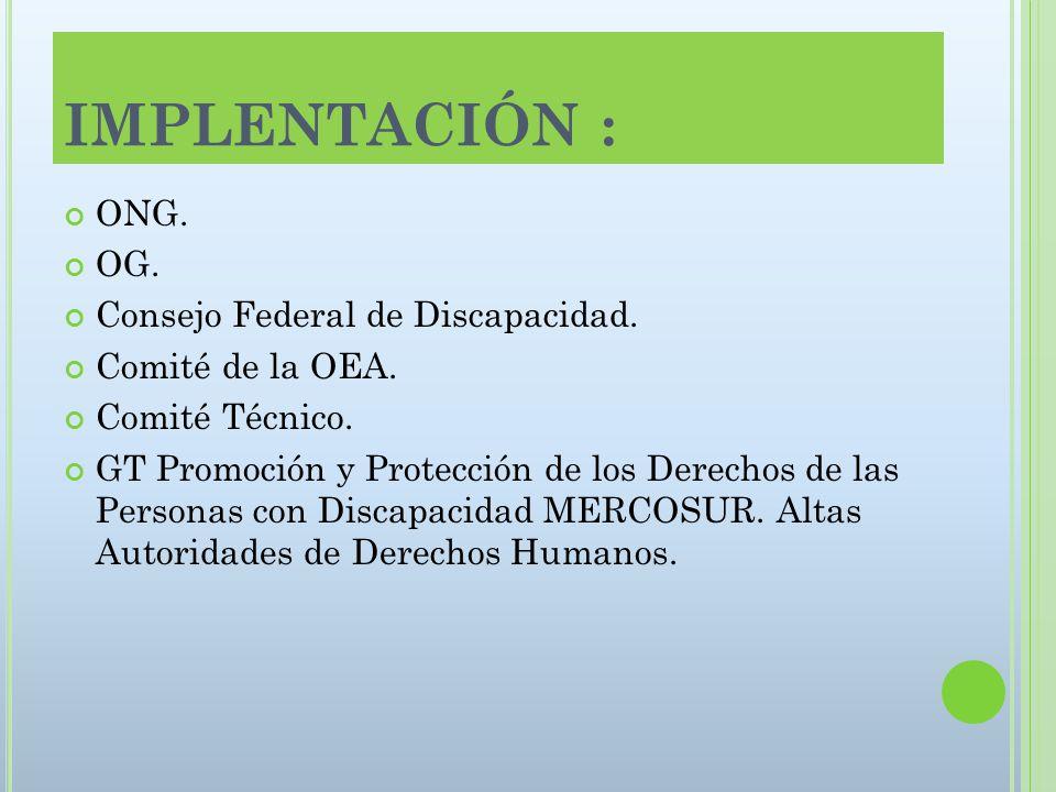 IMPLENTACIÓN : ONG. OG. Consejo Federal de Discapacidad.