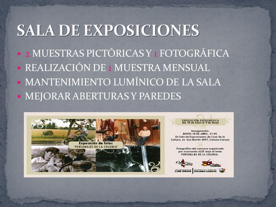 2 MUESTRAS PICTÓRICAS Y 1 FOTOGRÁFICA REALIZACIÓN DE 1 MUESTRA MENSUAL MANTENIMIENTO LUMÍNICO DE LA SALA MEJORAR ABERTURAS Y PAREDES