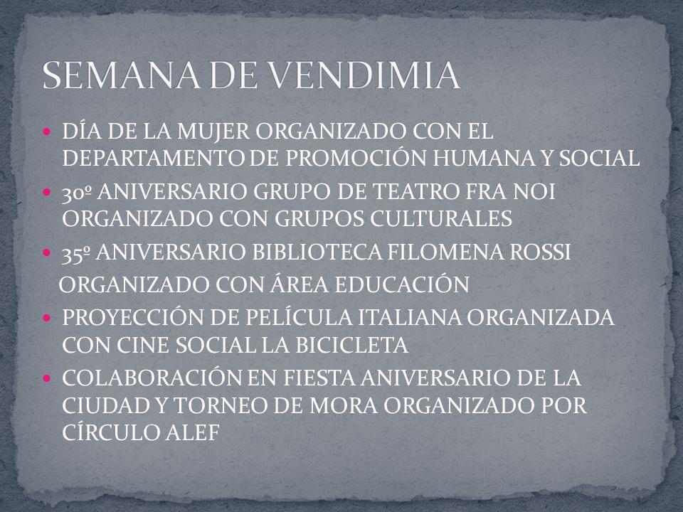 DÍA DE LA MUJER ORGANIZADO CON EL DEPARTAMENTO DE PROMOCIÓN HUMANA Y SOCIAL 30º ANIVERSARIO GRUPO DE TEATRO FRA NOI ORGANIZADO CON GRUPOS CULTURALES 3