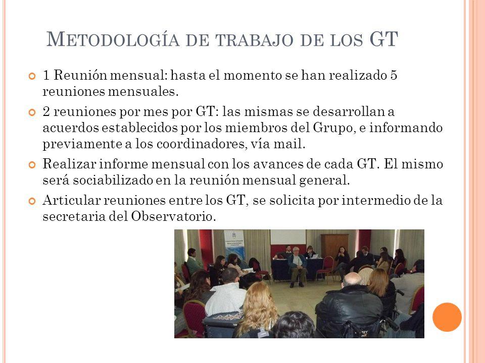 M ETODOLOGÍA DE TRABAJO DE LOS GT 1 Reunión mensual: hasta el momento se han realizado 5 reuniones mensuales.