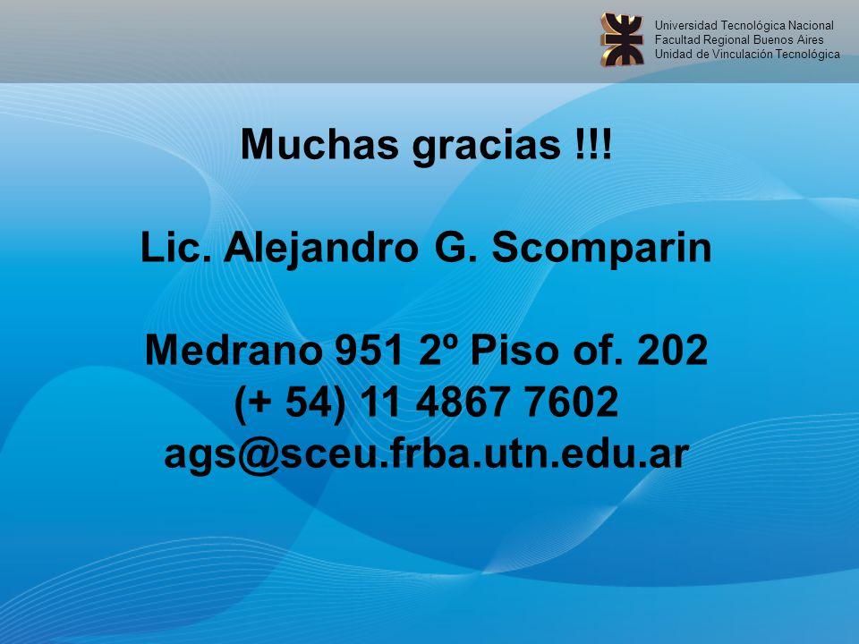 Universidad Tecnológica Nacional Facultad Regional Buenos Aires Unidad de Vinculación Tecnológica Muchas gracias !!.