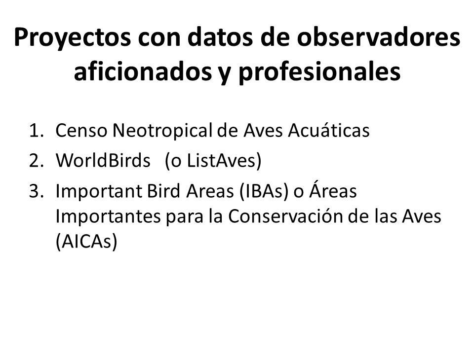 Proyectos con datos de observadores aficionados y profesionales 1.Censo Neotropical de Aves Acuáticas 2.WorldBirds (o ListAves) 3.Important Bird Areas (IBAs) o Áreas Importantes para la Conservación de las Aves (AICAs)