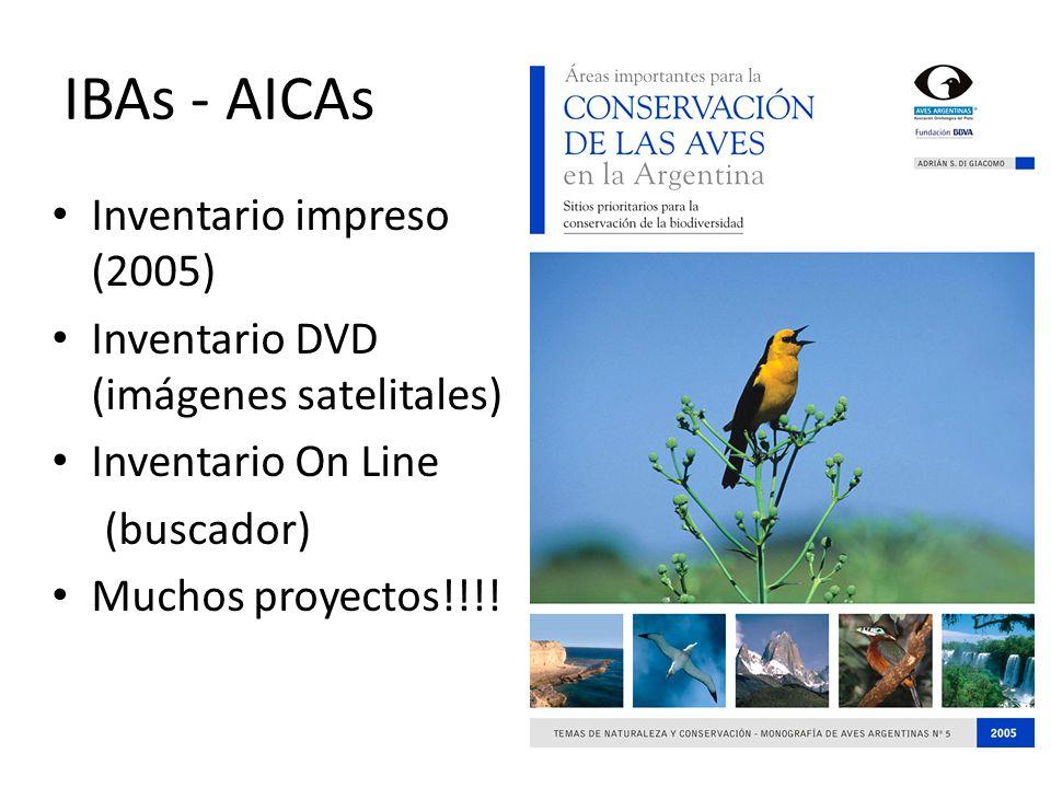 IBAs - AICAs Inventario impreso (2005) Inventario DVD (imágenes satelitales) Inventario On Line (buscador) Muchos proyectos!!!!