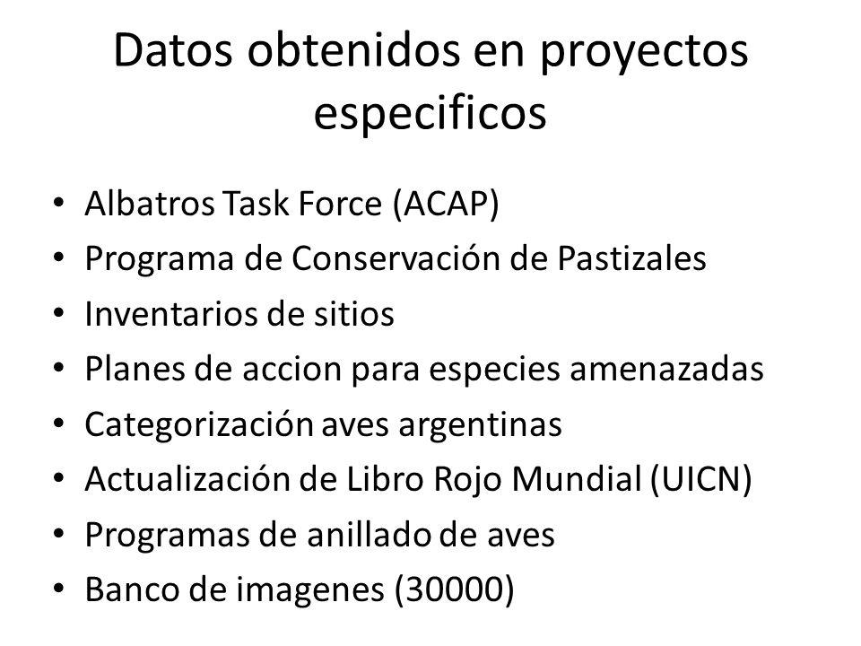 Datos obtenidos en proyectos especificos Albatros Task Force (ACAP) Programa de Conservación de Pastizales Inventarios de sitios Planes de accion para especies amenazadas Categorización aves argentinas Actualización de Libro Rojo Mundial (UICN) Programas de anillado de aves Banco de imagenes (30000)