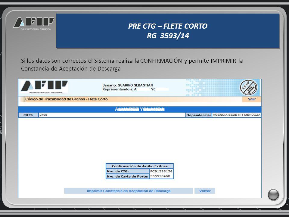 PRE CTG – FLETE CORTO RG 3593/14 PRE CTG – FLETE CORTO RG 3593/14 El sistema devuelve los datos consignados, debiendo completar la ESPECIE, COSECHA, P