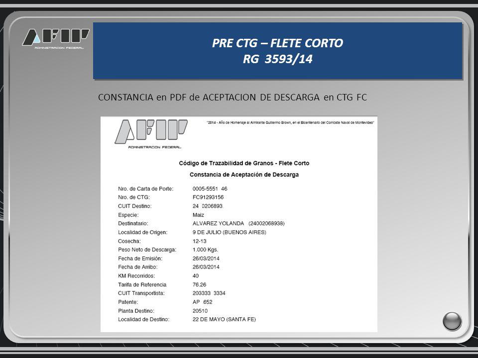PRE CTG – FLETE CORTO RG 3593/14 PRE CTG – FLETE CORTO RG 3593/14 Si los datos son correctos el Sistema realiza la CONFIRMACIÓN y permite IMPRIMIR la