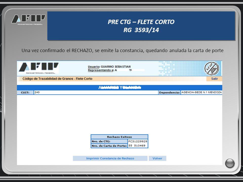 PRE CTG – FLETE CORTO RG 3593/14 PRE CTG – FLETE CORTO RG 3593/14 El sistema muestra el PRE CTG FC que se quiere rechazar.