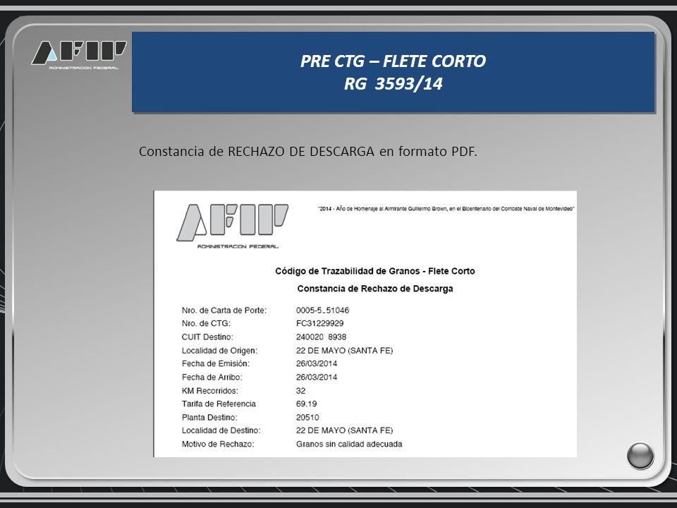 PRE CTG – FLETE CORTO RG 3593/14 PRE CTG – FLETE CORTO RG 3593/14 Una vez confirmado el RECHAZO, se emite la constancia, quedando anulada la carta de