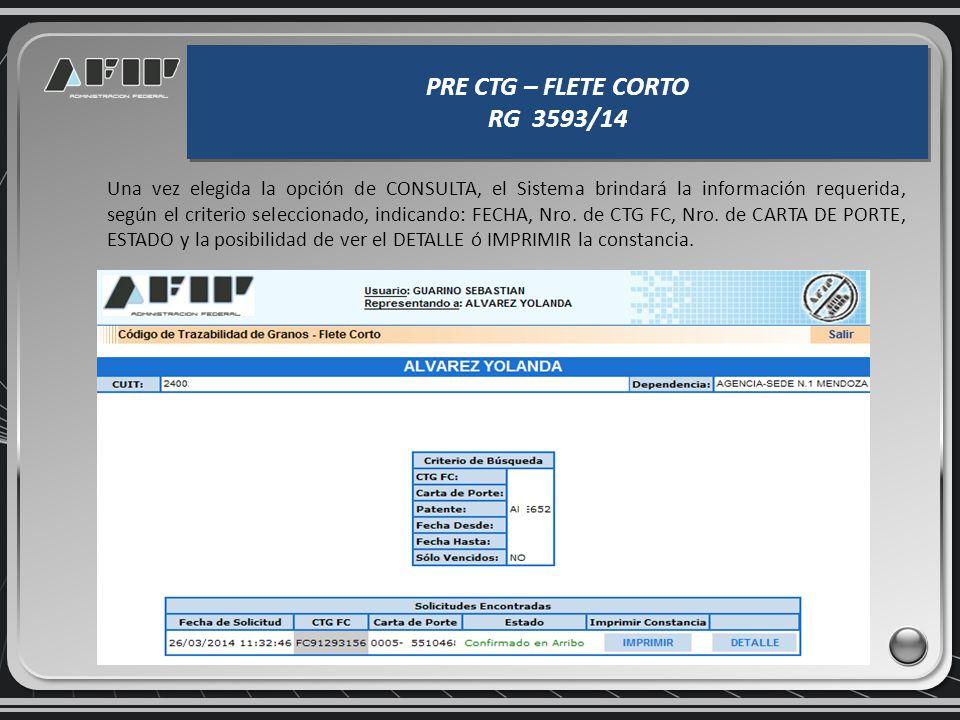 PRE CTG – FLETE CORTO RG 3593/14 PRE CTG – FLETE CORTO RG 3593/14 Si se quiere consultar un PRE CTG FC, se elige la opción de CONSULTA, donde la panta