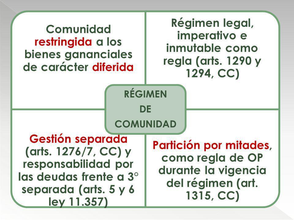 Comunidad restringida a los bienes gananciales de carácter diferida Régimen legal, imperativo e inmutable como regla (arts. 1290 y 1294, CC) Gestión s