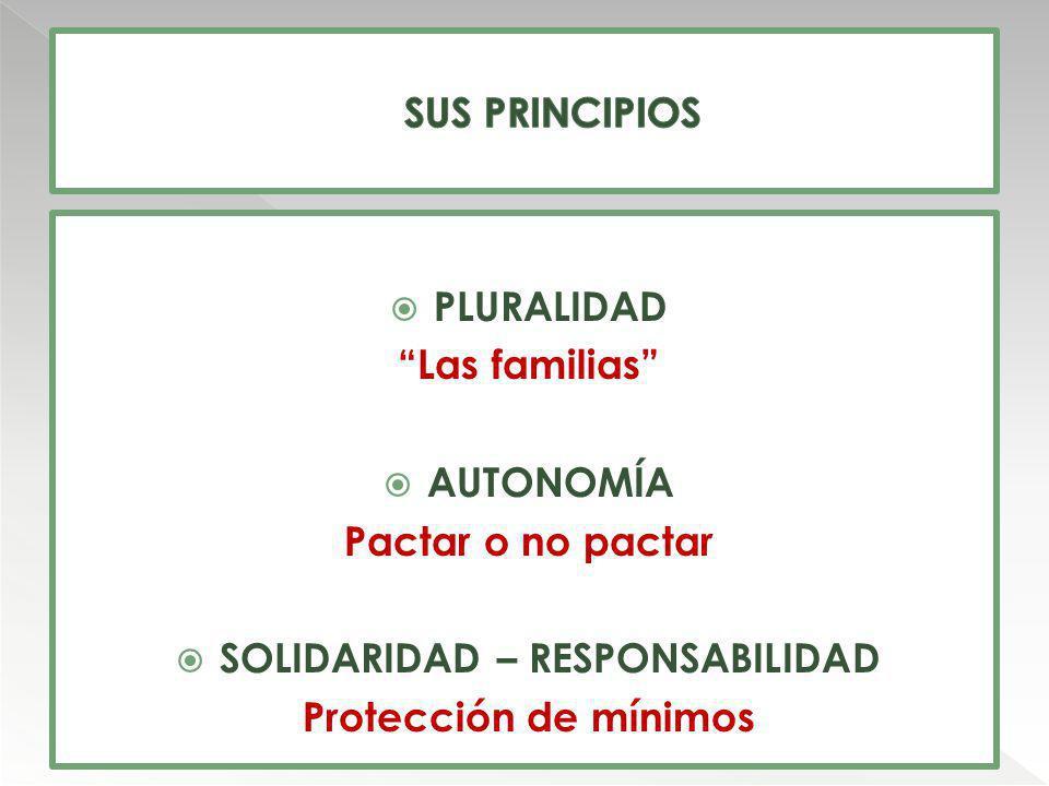 PLURALIDAD Las familias AUTONOMÍA Pactar o no pactar SOLIDARIDAD – RESPONSABILIDAD Protección de mínimos