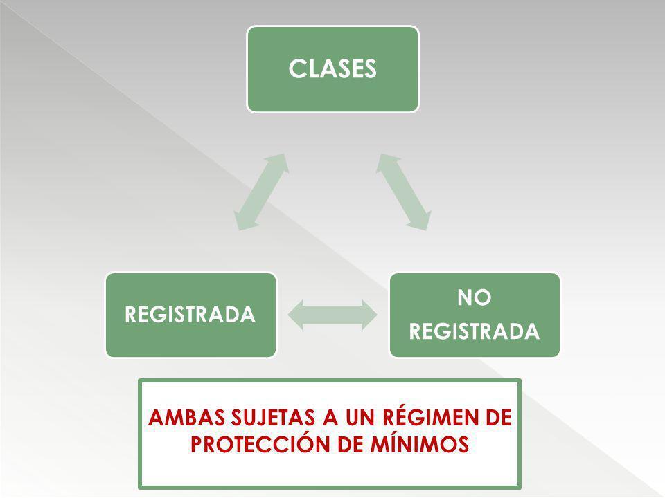 CLASES NO REGISTRADA AMBAS SUJETAS A UN RÉGIMEN DE PROTECCIÓN DE MÍNIMOS